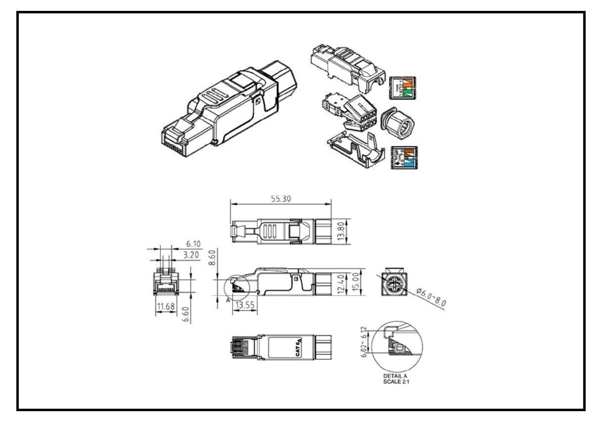 Excel Cat 6a Ftp Field Termination Rj45 Plug Tdigroup Cat6a Wiring Diagram Tc 3000 Draw